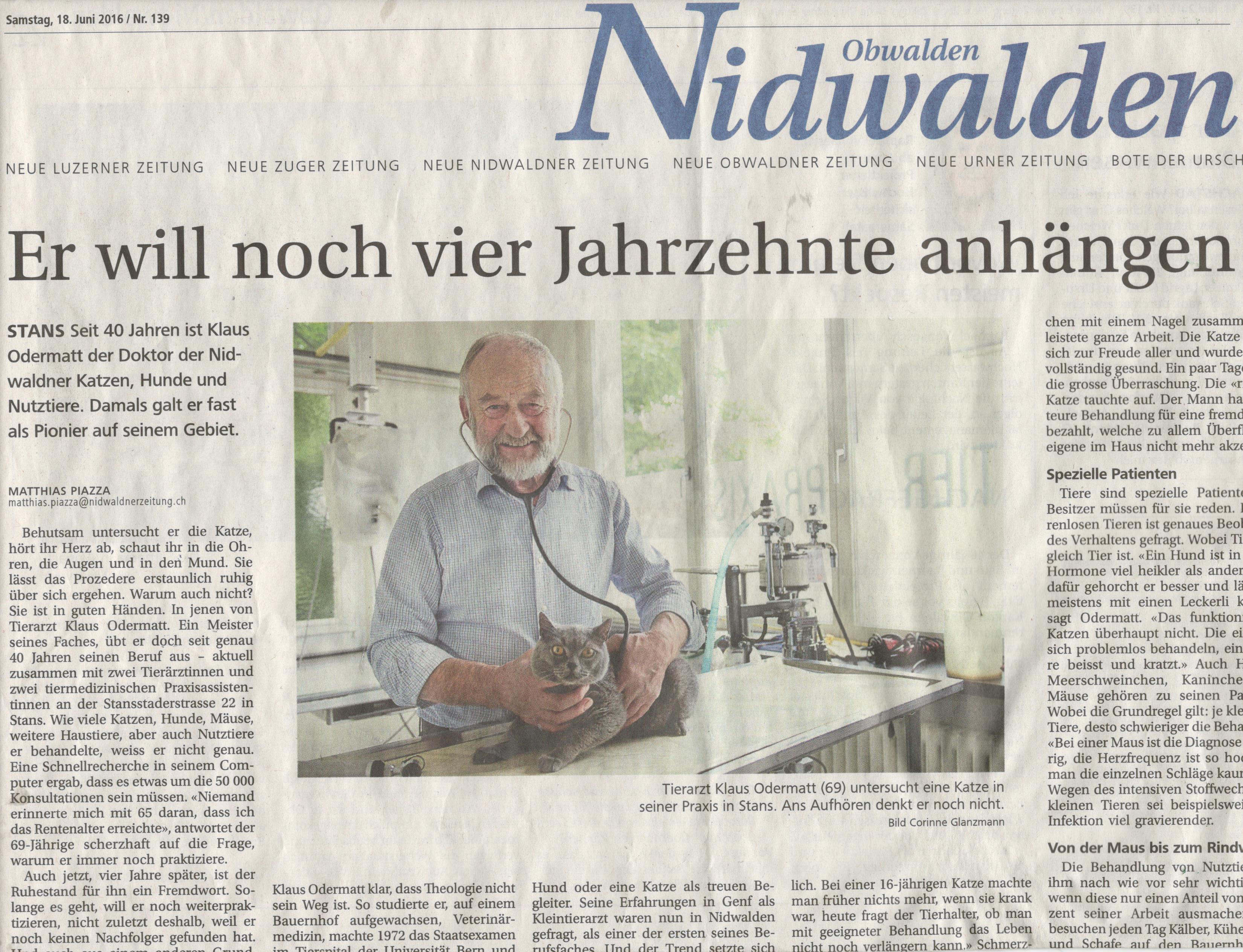 Nidwaldner Zeitung Dr. Klaus Odermatt